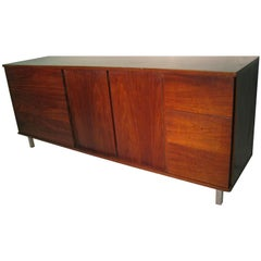 Mid-Century Modern Walnut Dresser Cabinet Style of Florence Knoll