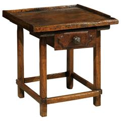 19th Century Pine Shoe Maker Table with Drawer