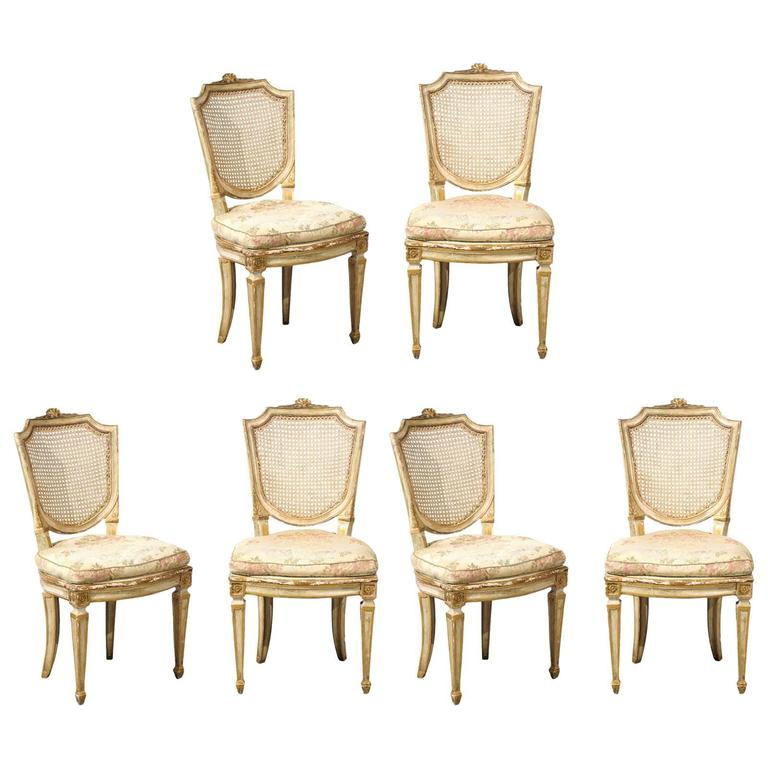 Set of Six 19th Century Italian Neoclassical Style Painted & Cane Dining Chairs For Sale