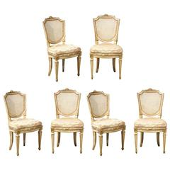 Set of Six 19th Century Italian Neoclassical Style Painted & Cane Dining Chairs