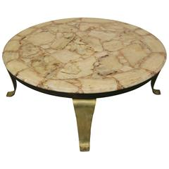 Brass and Onyx Coffee Table by Muller Onyx of Mexico
