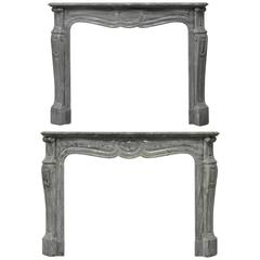 A  Pair Of Grey Marble Louis XV Fireplace Mantels, 19th Century