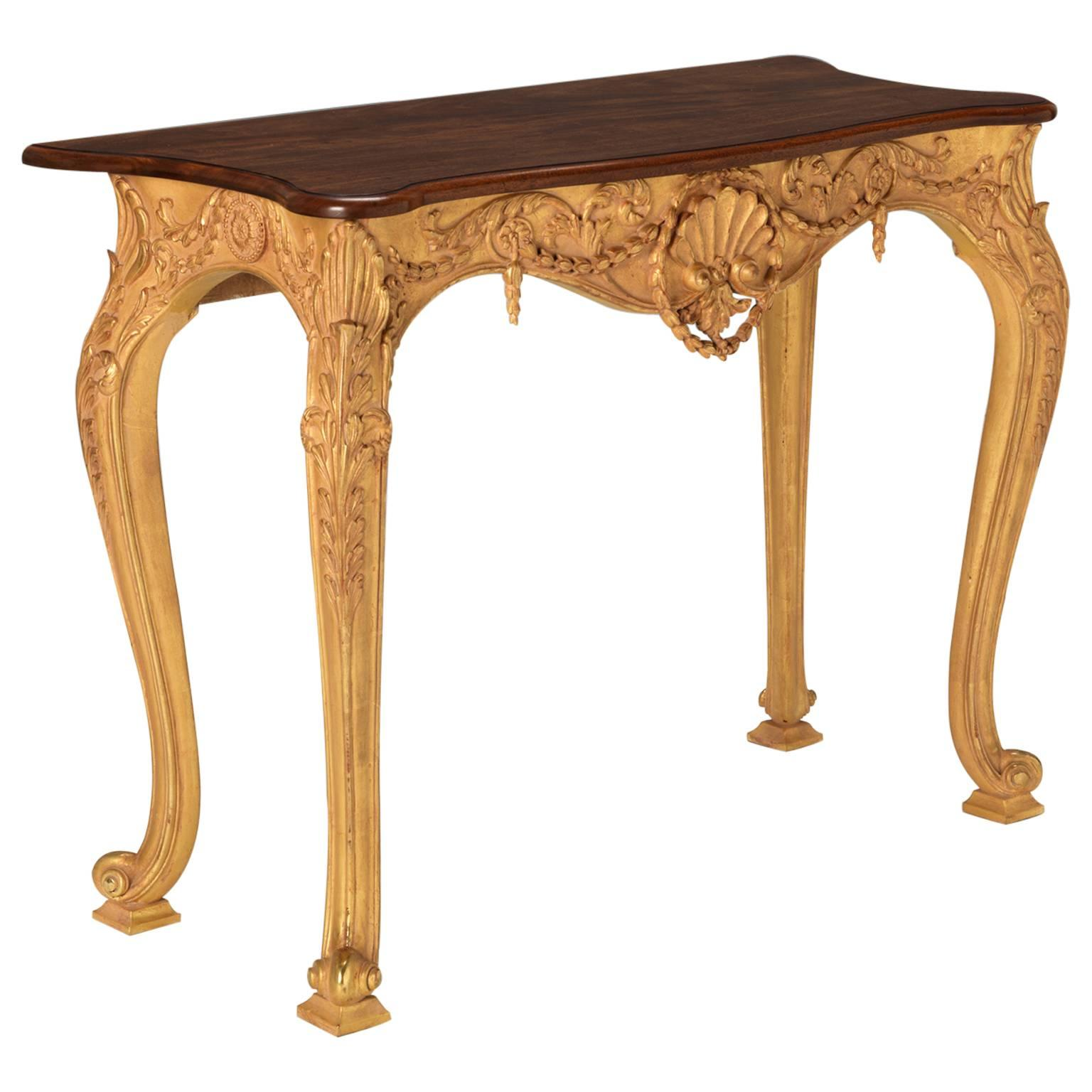 Serpentine Console Table in the manner of Robert Adam