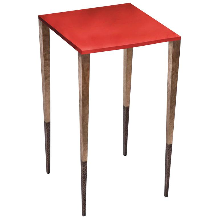 """Upaya"" Hand-Hammered Bronze Side Table with Lacquered Top by Aurelien Gallet For Sale"