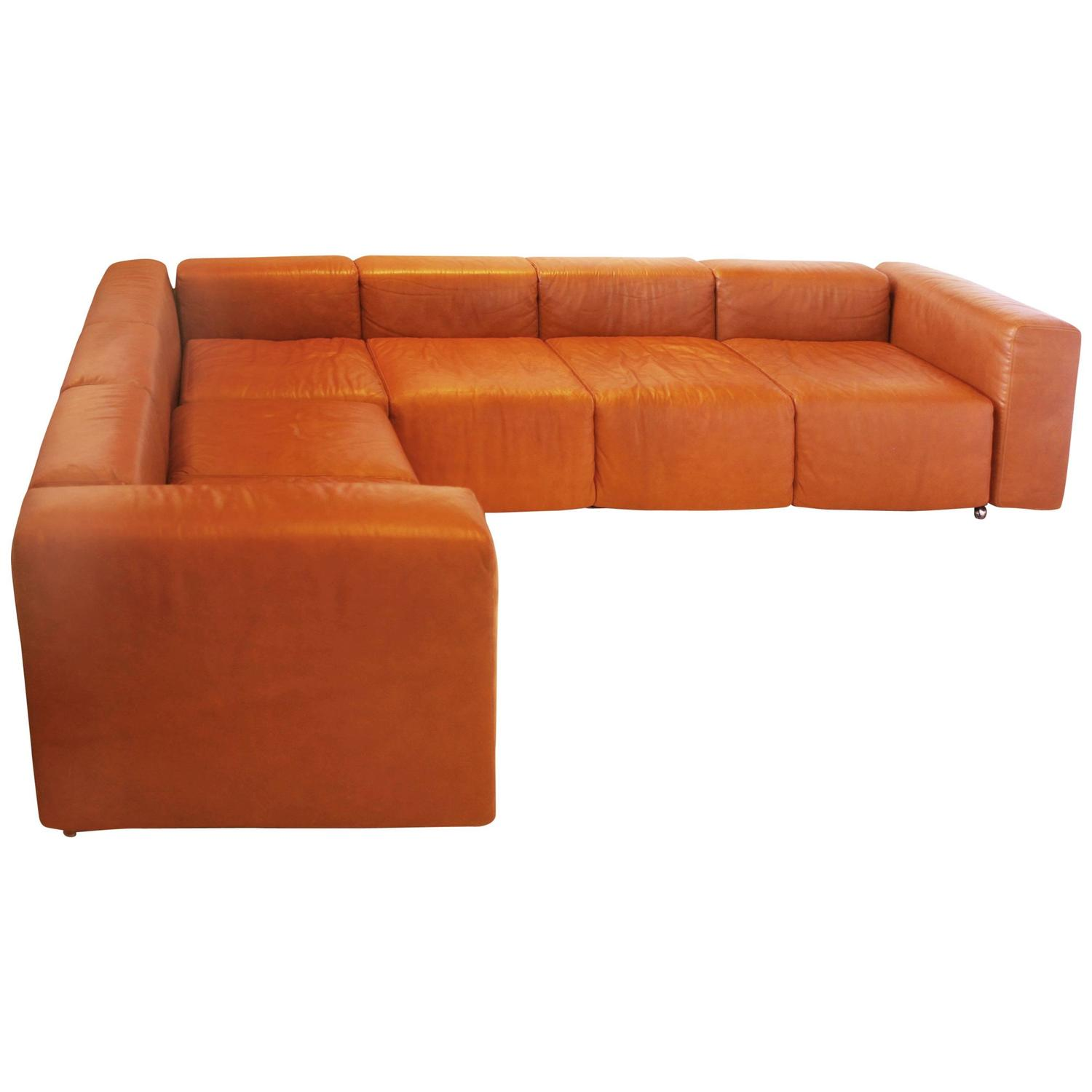 vintage harvey probber sofa in cognac leather at 1stdibs. Black Bedroom Furniture Sets. Home Design Ideas