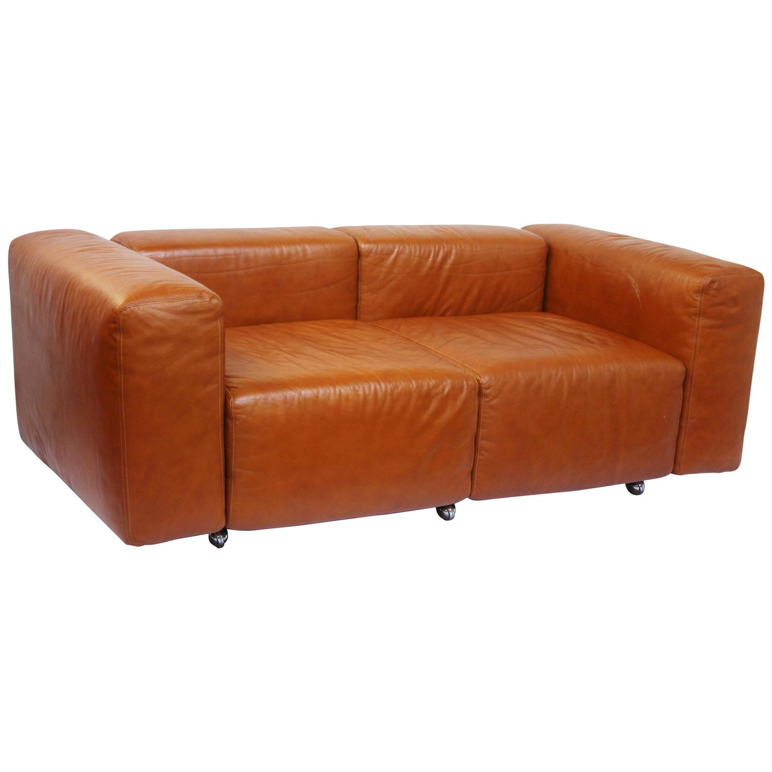 Leather Modular Loveseat Small Sofa By Harvey Probber At 1stdibs