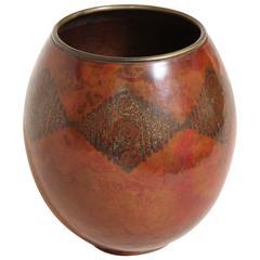 Claudius Linossier French Art Deco Copper Dinanderie Vase