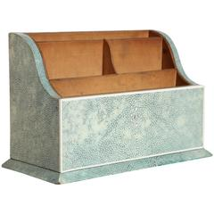 English Art Deco Green / Blue Shagreen Letter/Stationery Rack