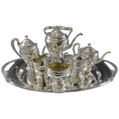 Paul Revere Towle Sterling Silver Tea Set, 7-Piece with Kettle & Tray Hollowware