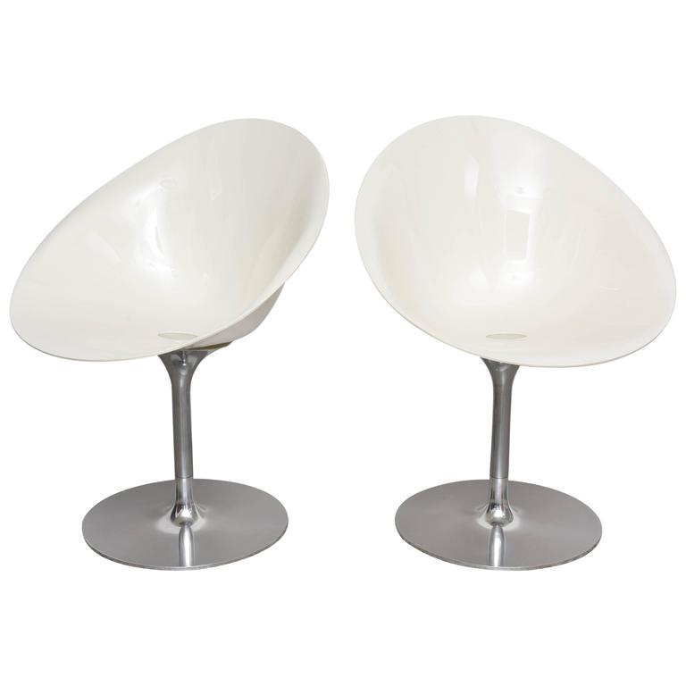 Pair Of White Swivel Chairs Eros Lsl By Kartell With
