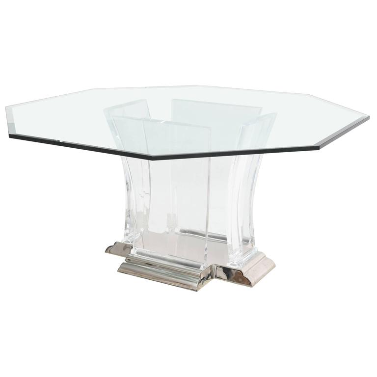 Octagonal Dining Table In Lucite, Glass And Polished