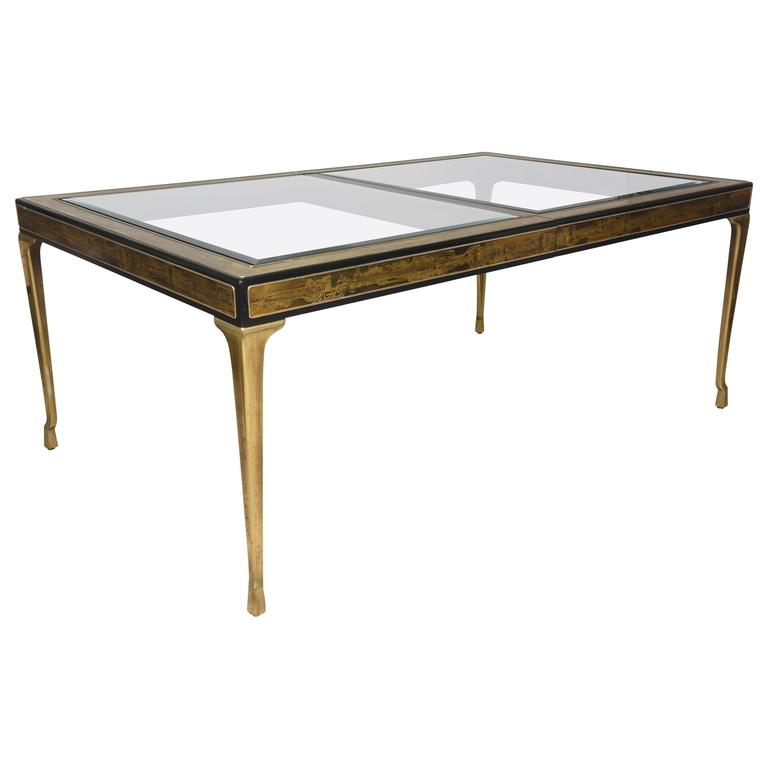 Rectangular Dining Table Brass and Glass by Bernhard Rohne for Mastercraft