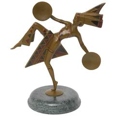 "Art Deco Patinated Bronze Sculpture of a ""Dancer"" by Gerda Gerdago"