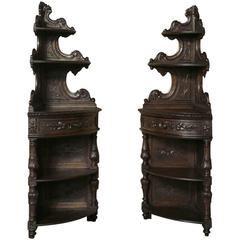 Pair of 19th Century Renaissance Hand-Carved Oak Corner Buffets or Etageres