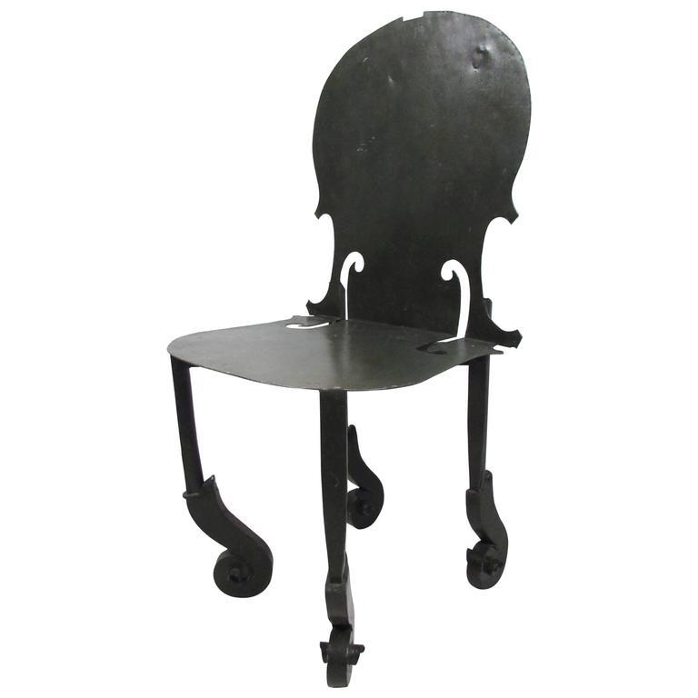Vintage Metal Violin Chair in the Style of Arman