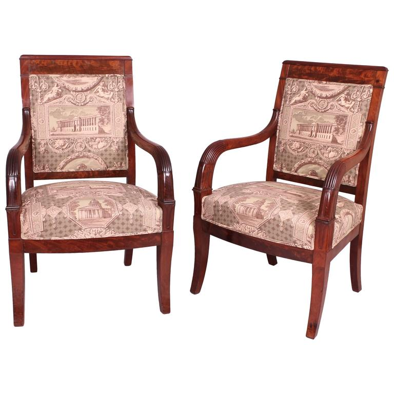 A Pair Of Period French Chairs With Missoni Fabric At 1stdibs: Pair Of French Restoration Mahogany Armchairs For Sale At