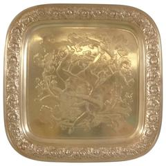 Tiffany & Co. Sterling Silver Salver Tray, Acid-Etched Figural Man and Woman