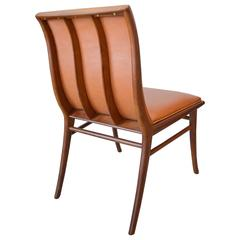 Leather and Walnut Sabre Leg Accent Chair by T.H. Robsjohn-Gibbings
