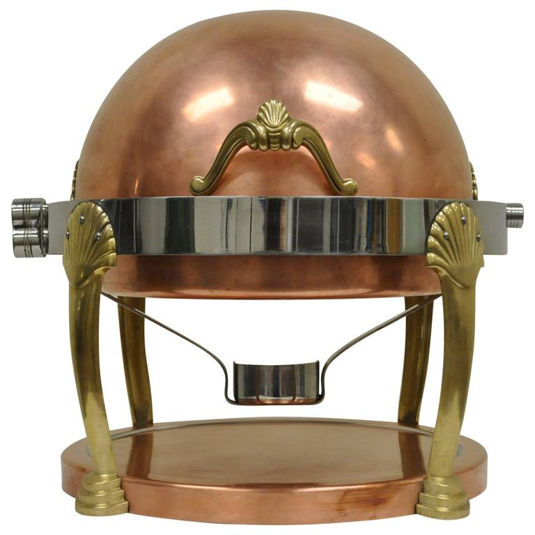 Fine Neoclassical Style Copper, Brass, and Chrome Chafer or Chafing Dish Server