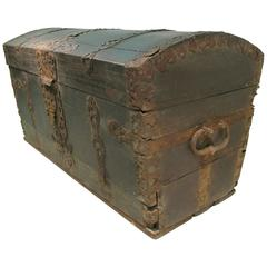 Fabulous 18th Century Dome Top Oak Trunk, Dated 1739