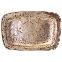 Tiffany & Co. Sterling Silver Platter with Inlaid Copper Floral Design