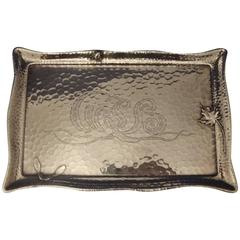 Tiffany & Co. Sterling Silver Business Card Tray, Hand-Hammered with Beetle