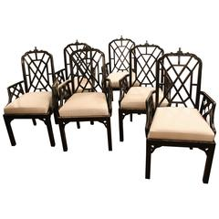 Set of Six or 10 Chinese Chippendale Dining Arm Chairs Pagoda Hollwood Regency
