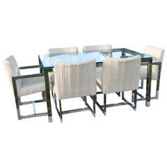 Midcentury Chrome Table and Six Chairs Dining Set by Milo Baughman for DIA