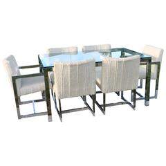 Milo Baughman DIA Chrome Dining Set Table Six Chairs Arm side Cube Mid-Century