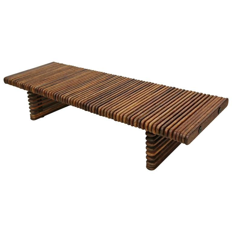 Pacific Green Palmwood Isle Du0027palm Slatted Bench Coffee Table 1