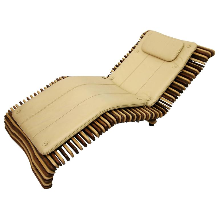 pacific green palmwood and leather chaise lounge chair 1