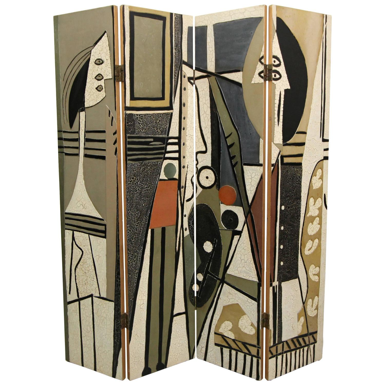 Cool Pablo Picasso Style Painter And Model Folding Four Panel Room Divider Screen Download Free Architecture Designs Scobabritishbridgeorg