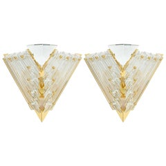 Pair of Triangular Crystal and Brass Murano Sconces, circa 1970