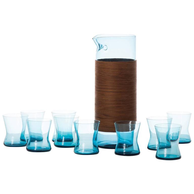 Set of Ten Glasses and a Carafe Produced in Finland