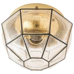 Limburg Brass and Amber Glass Light Fixture, 1960s