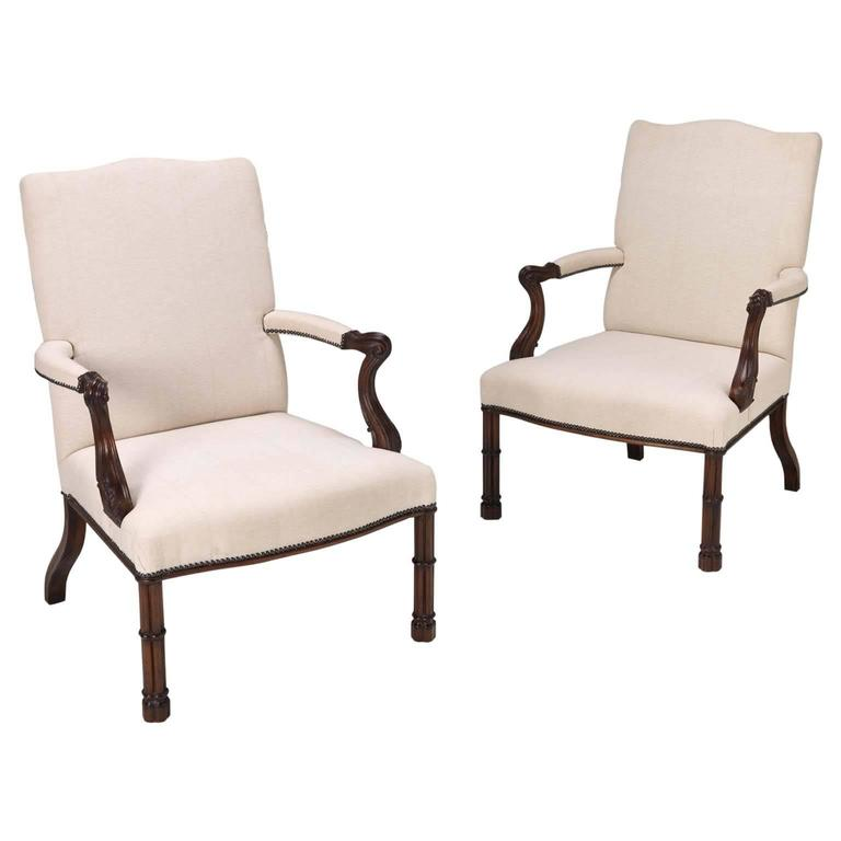 Cluster Column Armchairs in the manner of Thomas Chippendale For Sale