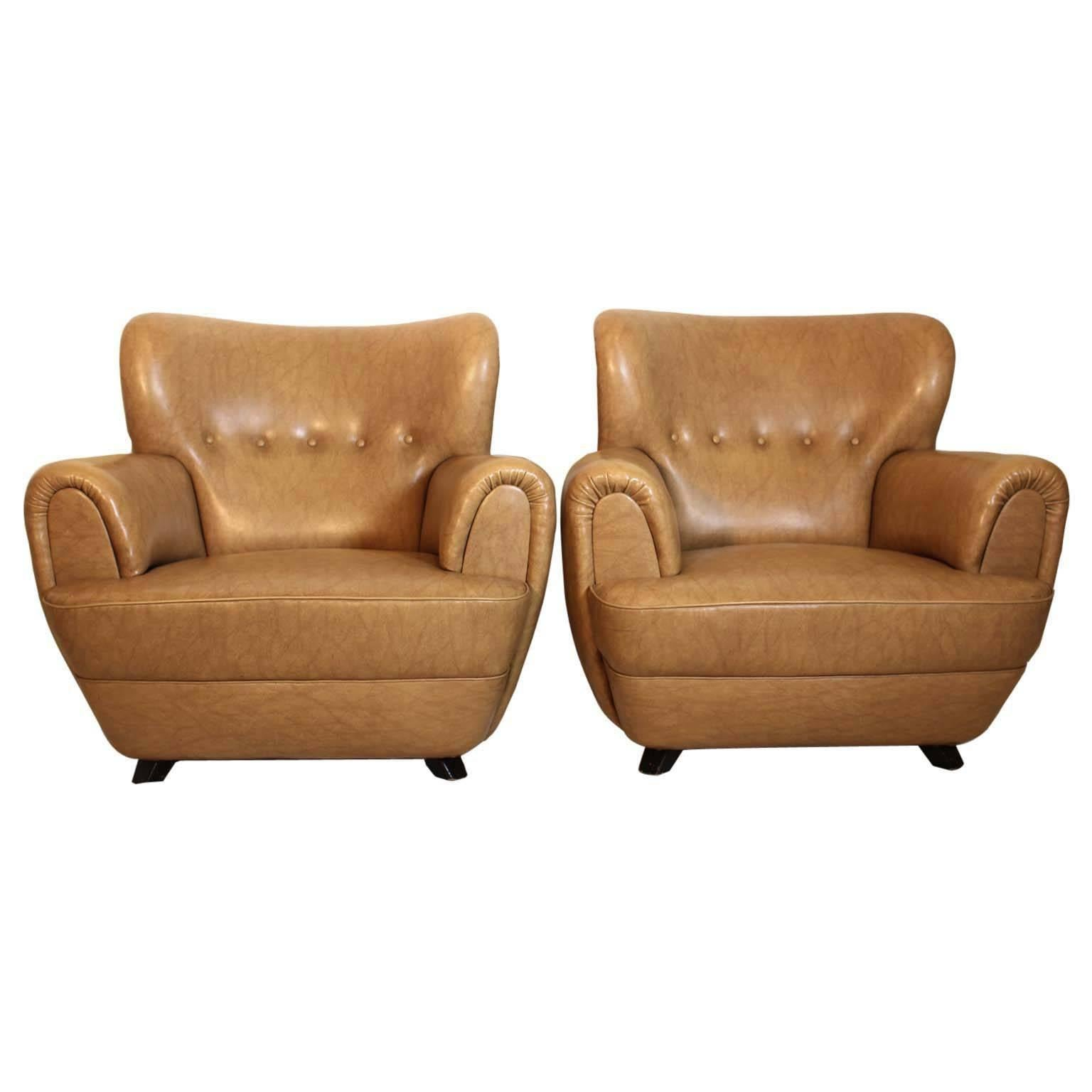 Art Deco Pair Vintage Lounge Chairs Attributed to Guglielmo Ulrich 1940s