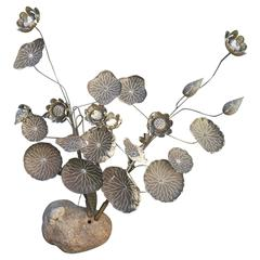 Monumental Antique Japanese Lotus Flower Bouquet Sculpture Indoor or Garden