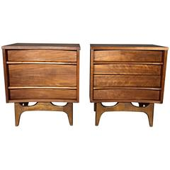 American Modern Curved Front Walnut Nightstands, 1950s