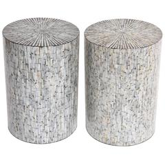 Mid-Century Modern American Decorative Shell Mother of Pearl Drum Tables