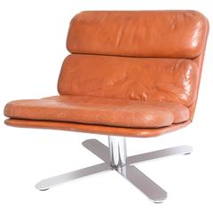 Mid-Century Modern American Nicos Zagraphos Chrome, Leather Lounge Chair