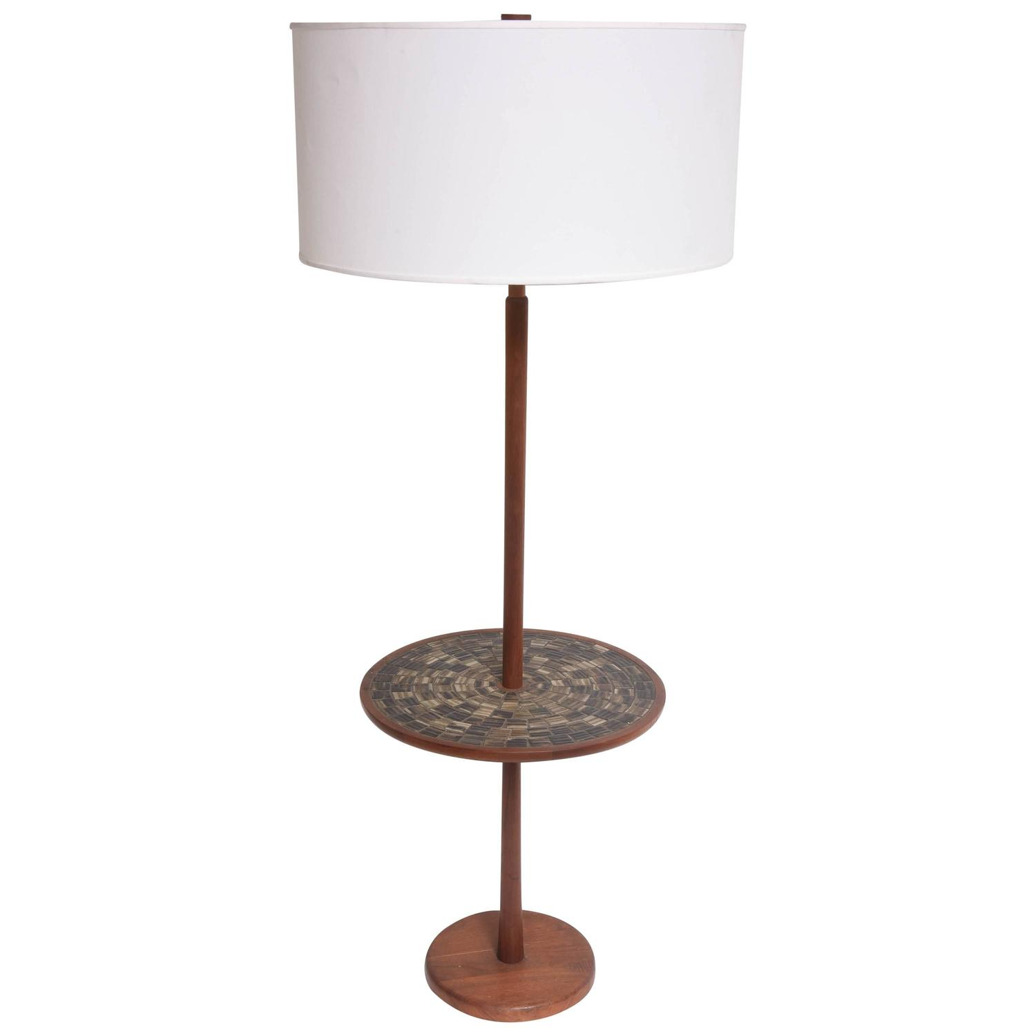 Mid century modern america ceramic walnut gordon and jane for Floor lamp with table
