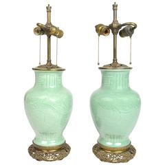 Pair of Chinese Celadon Porcelain Lamps