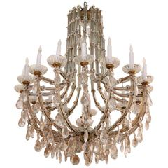 1940s Marie Therese Sixteen-Light Crystal Chandelier