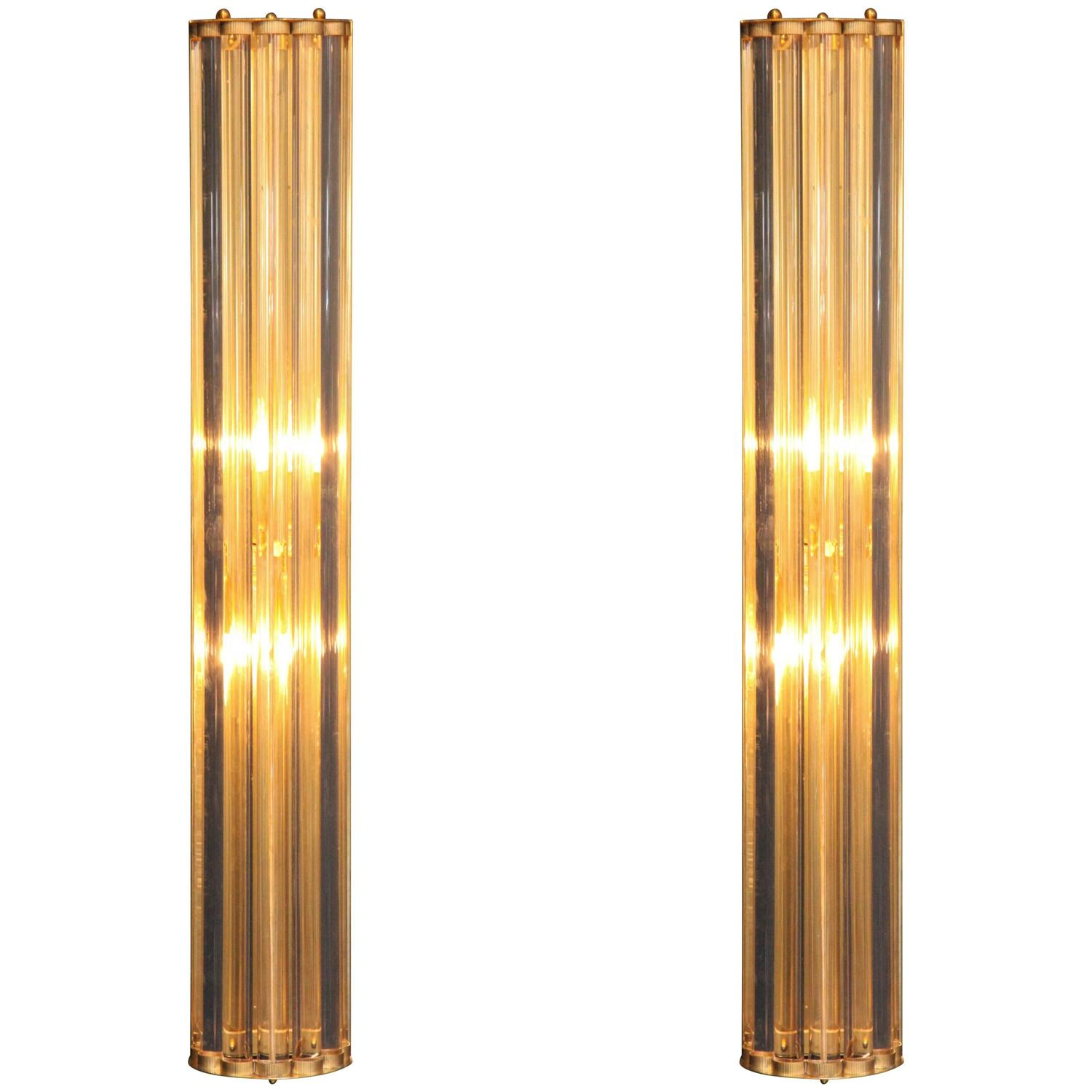 Modern Wall Sconces Italian : Pair of Large Italian Mid-Century Modern Murano Glass Rod and Brass Sconces For Sale at 1stdibs