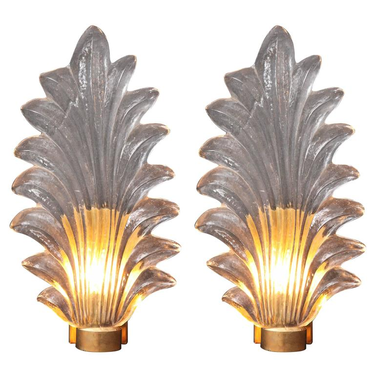 Pair of Large Murano Glass and Brass Leaf Sconces in the Style of Barovier Toso 1