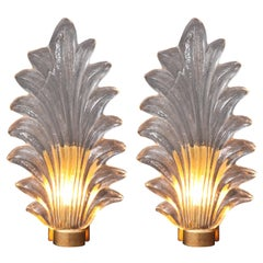 Pair of Large Clear Murano Glass and Brass Leaf Sconces, Italy, 2018