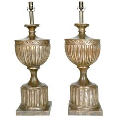 Pair of Large Neoclassical Style Silver Leaf Carved Wood Table Lamps