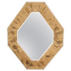 Chic 1940s Italian Octagonal Gold Mirror with Églomisé Frame