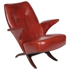 """""""Penguin"""" Chair in Original Leather Upholstery by Theo Ruth for Artifort"""